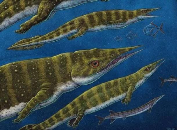 Representação artística de Gunakadeit joseeae, o réptil de 200 milhões de anos. (Imagem de Ray Troll © 2020)