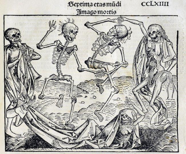Ilustração de Liber chronicarum, 1. CCLXIIII; Esqueletos estão ressuscitando dos mortos para a dança da morte. (Crédito da imagem: Anton Koberger, 1493 / Domínio público)