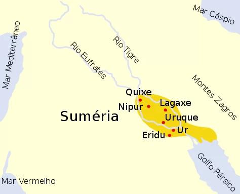 Mapa com a localização de onde viveram os antigos sumérios