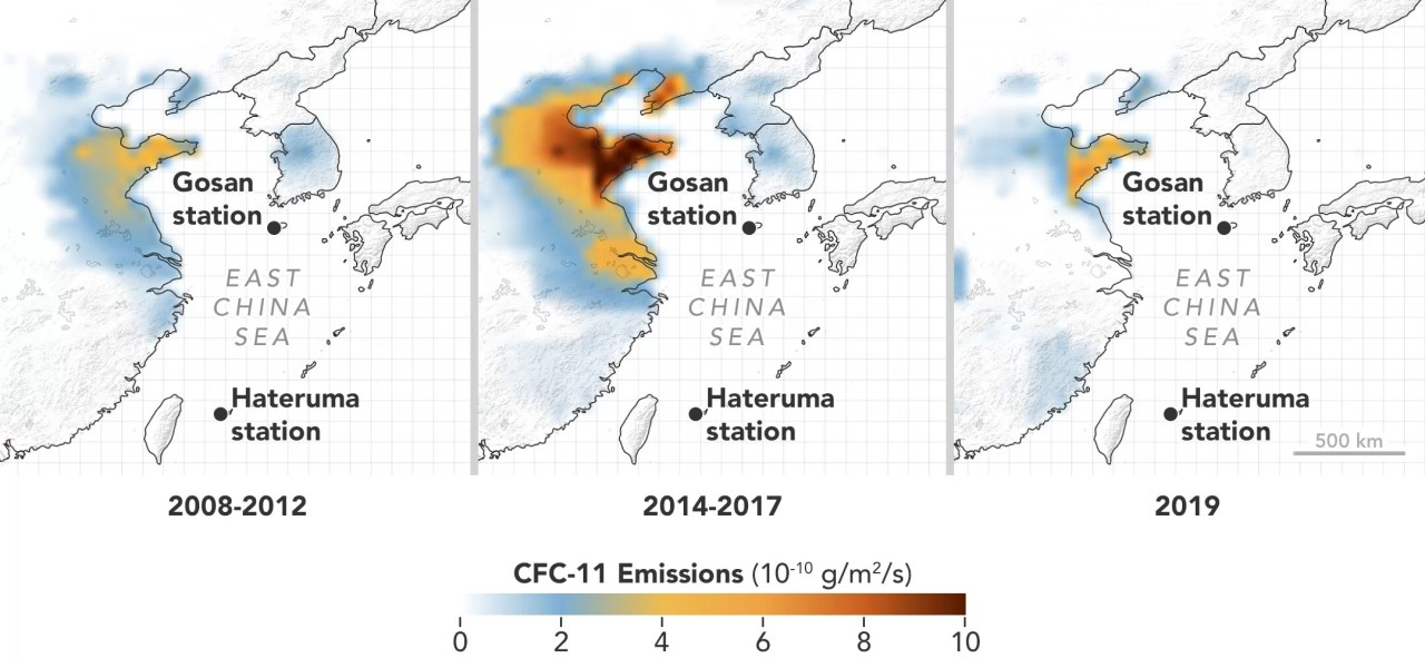 Emissões de substâncias destruidoras da camada de ozônio