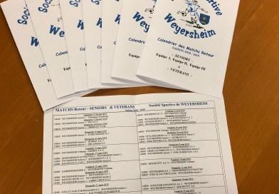 Calendrier retour Seniors et Vétérans 2018-2019