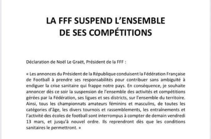 Covid-19 : la FFF suspend l'ensemble des compétitions