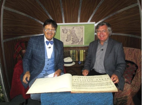 BBC presenter Tim Wonnacott and SHA officer Kevin Kilburn display the Bevis Atlas