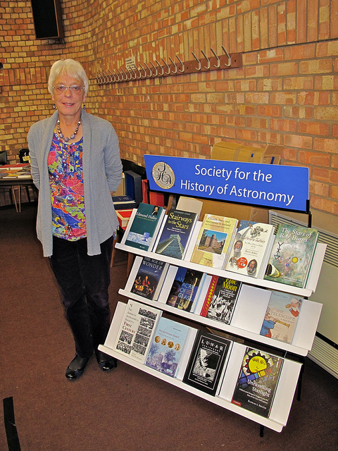 Madeline Cox with the SHA Library display at the SHA AGM, 2011