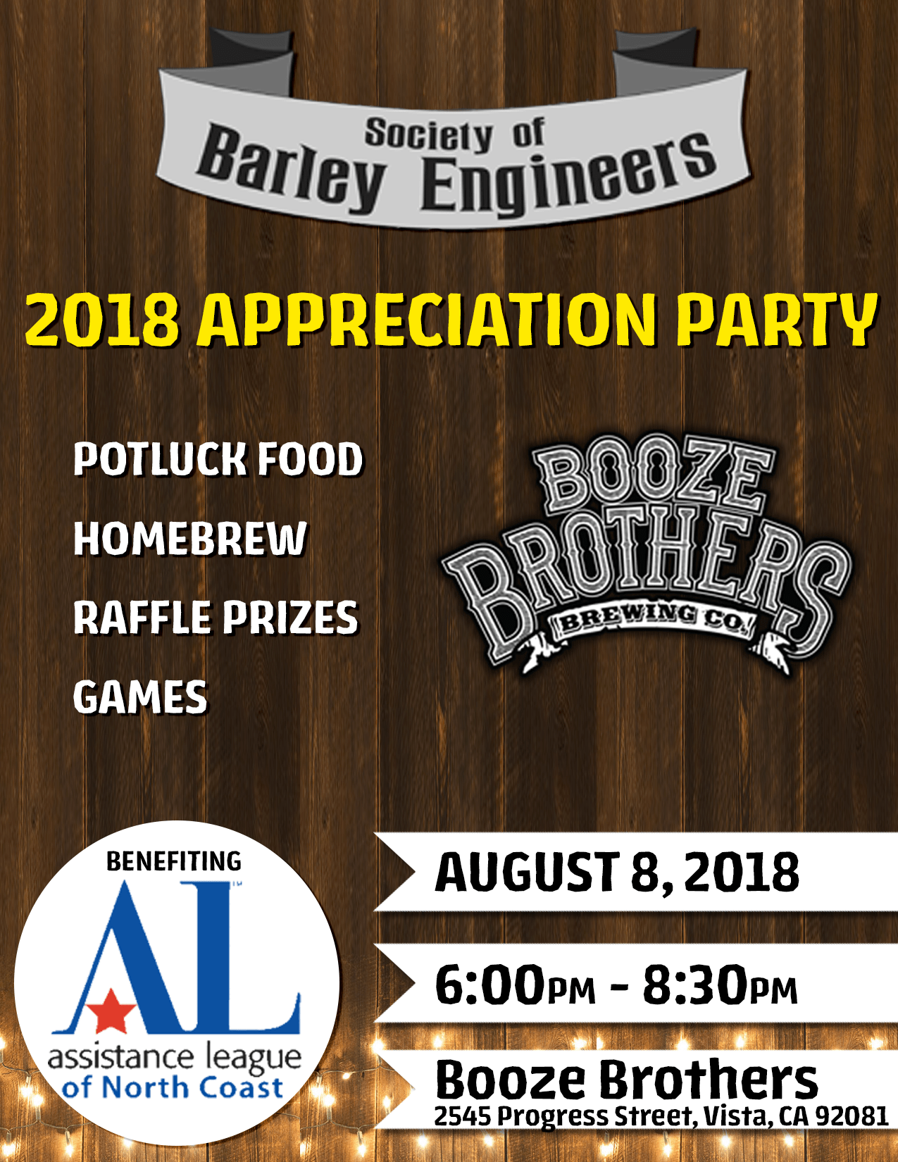 Booze Bros Appreciation Party & ALNC Benefit