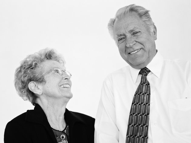 """""""We met in an economics class. I was just studying the young lady in the class. Life is so uncertain. You need to have faith. When we got married, we did not have a lot. We just jumped in with both feet and started working. It will always take effort. We are closer now than we have ever been in our entire lives!""""- Mervin & Carolyn, married 56 years at the time of the interview"""