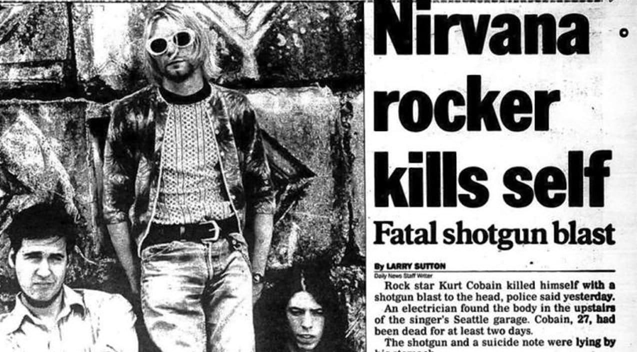 A 1994 Newspaper headline documenting Cobain's death.