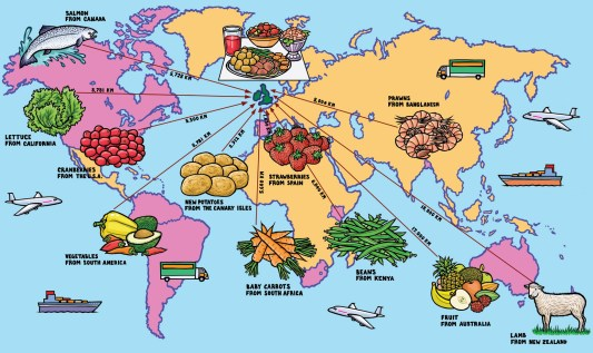 carbon footprint of food around the world food miles, air miles