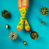 Cactus Socks Sockgaim Aqua Yellow Green