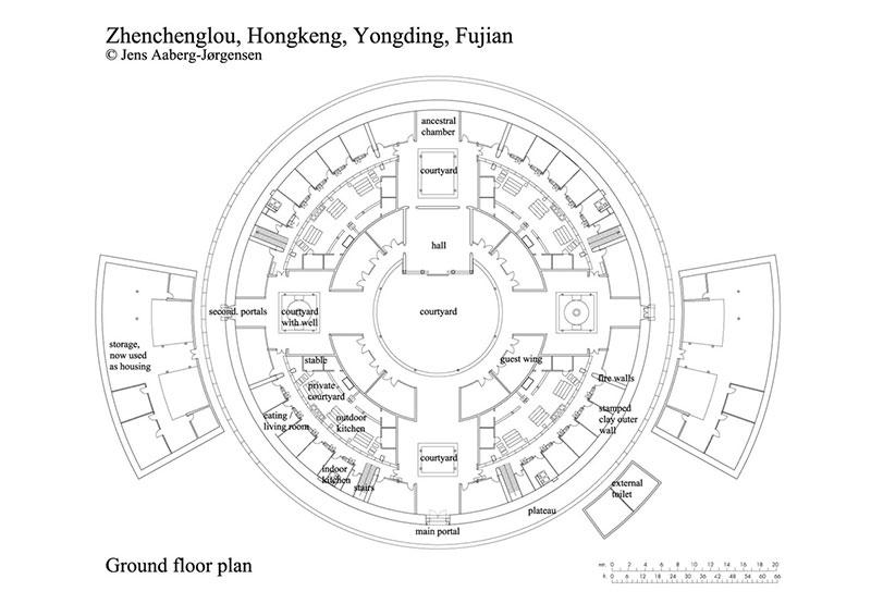 Hakka Tulou traditional Chinese Dwelling drawing plan
