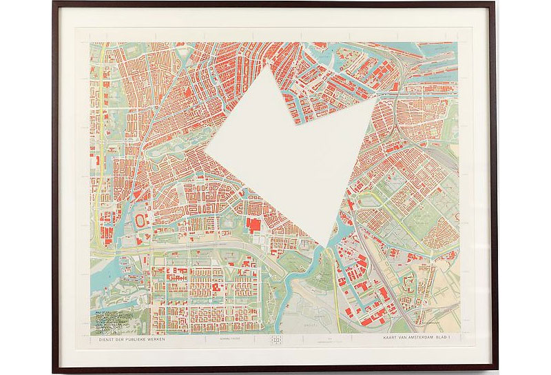 SOL LEWITT R647: Map of Amsterdam with the area between the Dam, Art and Project, Utrechtse-Brug, Zeeburgerstraat and Achtergracht removed 1976 Paper map with area removed Unframed: 25 3/4 x 32 in. (65.4 x 81.3 cm) Framed: 30 x 36 in. (76.2 x 91.4 cm)