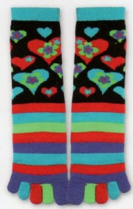 A Toe Sock with bright individual toes and stripes going up then on a black background Red, Blue Green and Purple Hearts.
