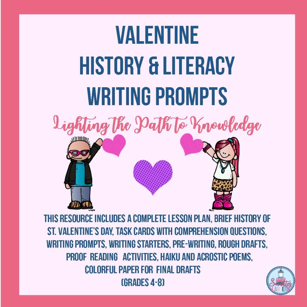 Valentine History & Literacy Writing Prompts