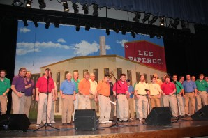The all-male chorus of the Vicksburg Rotary Club's Showboat struts its stuff with beautiful four-part harmony.