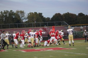 The swarming defense of the Bulldogs.