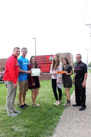 Vicksburg High School students and staff were honored for their academic achievements. These few were representative of the whole student body and staff, left to right: Adam Brush, assistant principal; Brenden Lovell, Grace Stock, Amy Kosiba, Shaidan Knapp, Keevin O'Neill, principal.