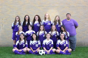 Front row, left to right: Autumn Fitzsimmons, Lily Hendershot, Paige Copeland, Stephanie Melendez. Middle row, left to right: Paige Dailey, Corinne Mullens, Samantha Spears, Silver Fox, Sol Guamanquispe. Back row, left to right: Jenna Faulk, Sabina Gamez, Chrissy Winkel, Rebecca Porter, Kira Wright, Coach Jeff Gerow. Not pictured: Coach Scott Fitzsimmons, Coach Ian Snyder, Kelsey Feddema.
