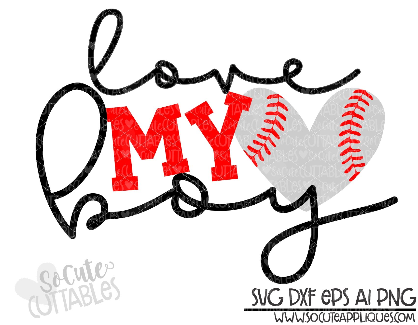 Love My Boy Baseball Heart 19 Scc Svg Socuteappliques Net