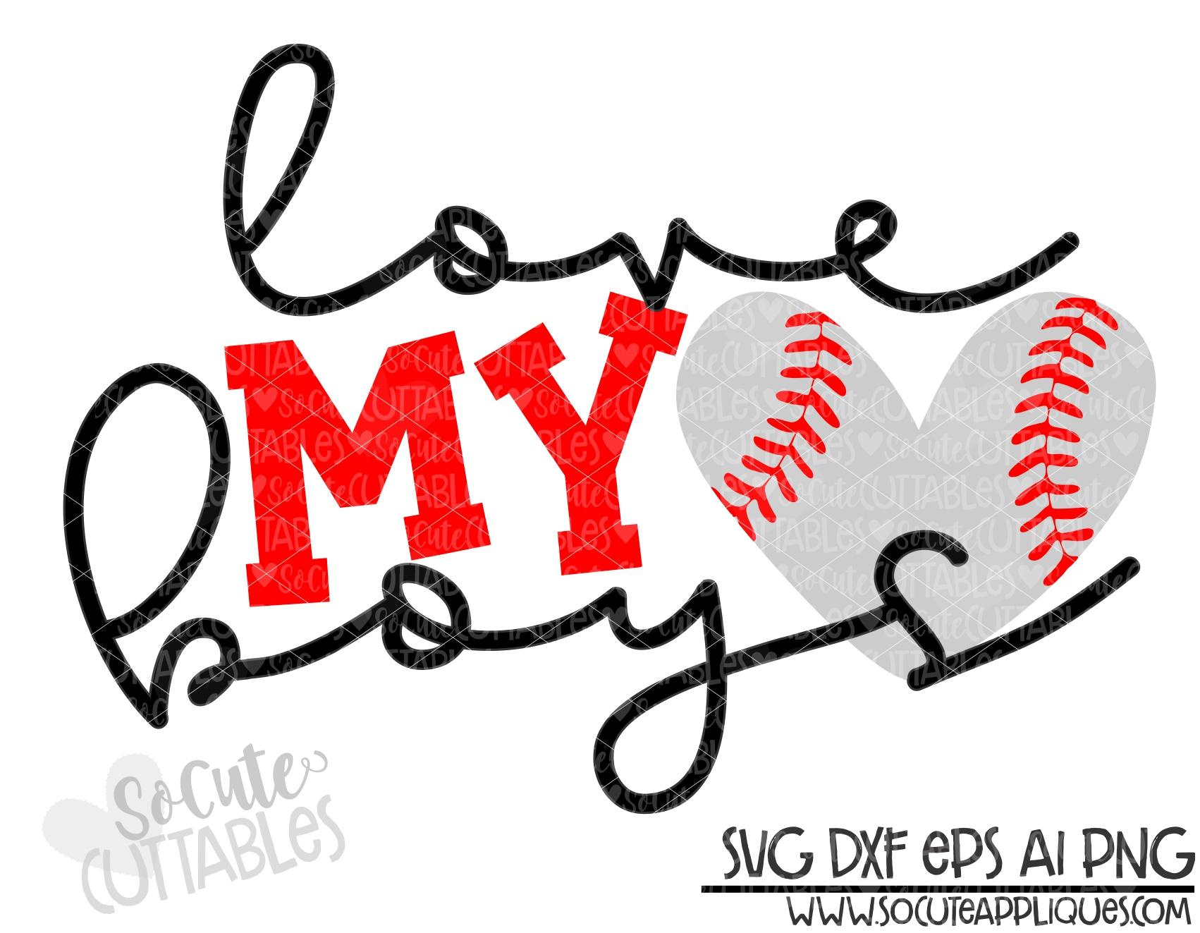 Download love my boys baseball heart 19 scc SVG - socuteappliques.net