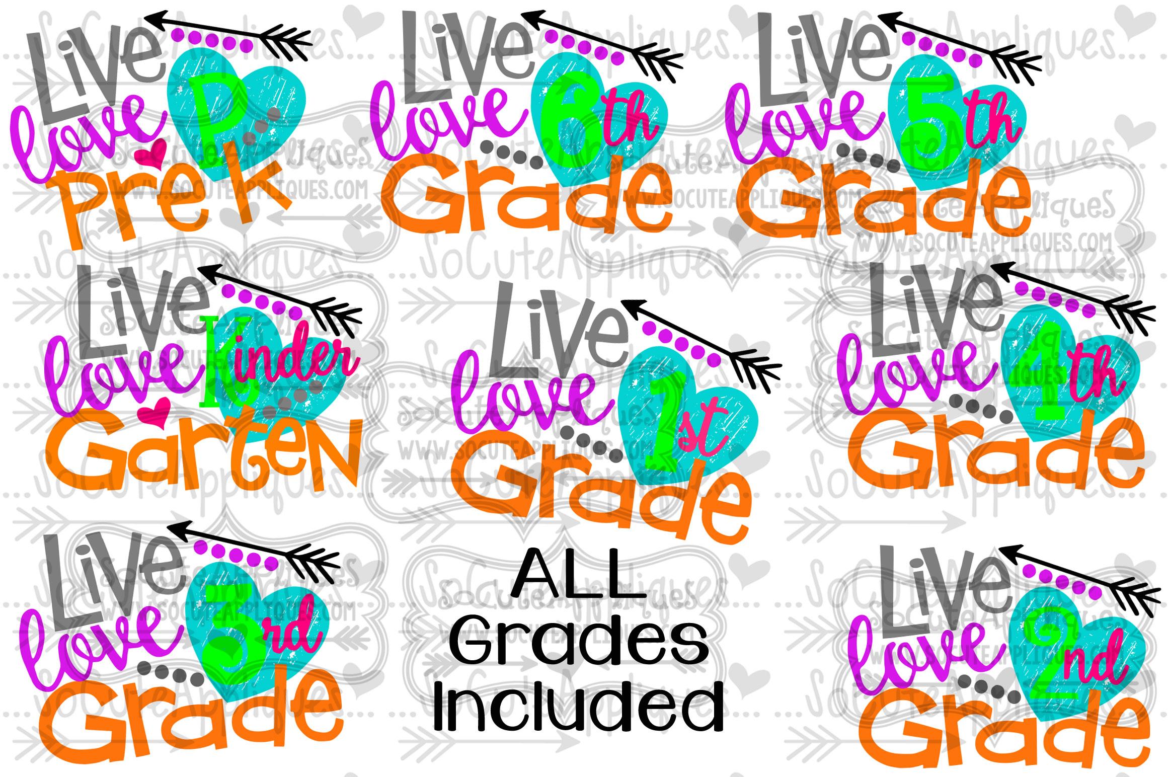 Download Live love grades SVG SCA — socuteappliques.net