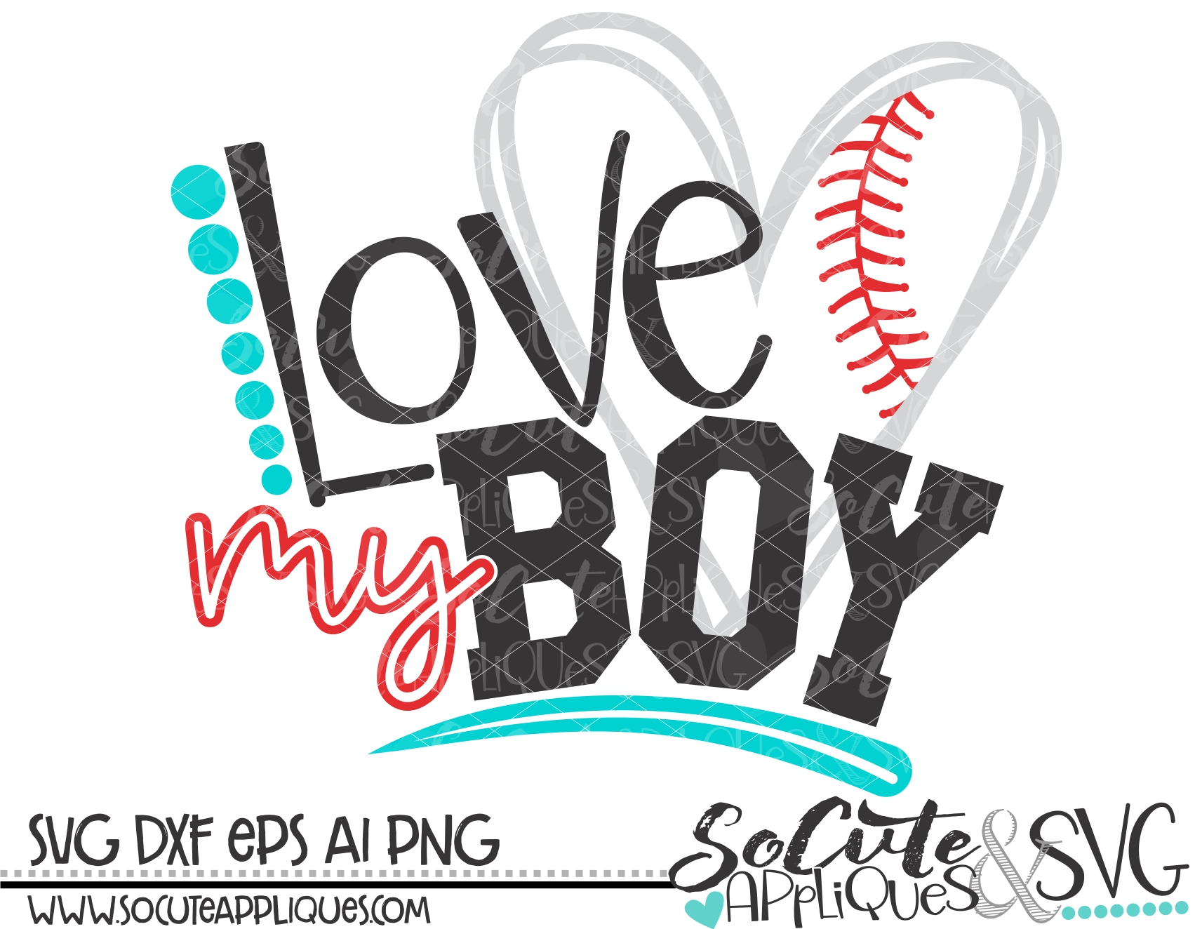 Download love my boy heart baseball 18 svg sca - socuteappliques.net