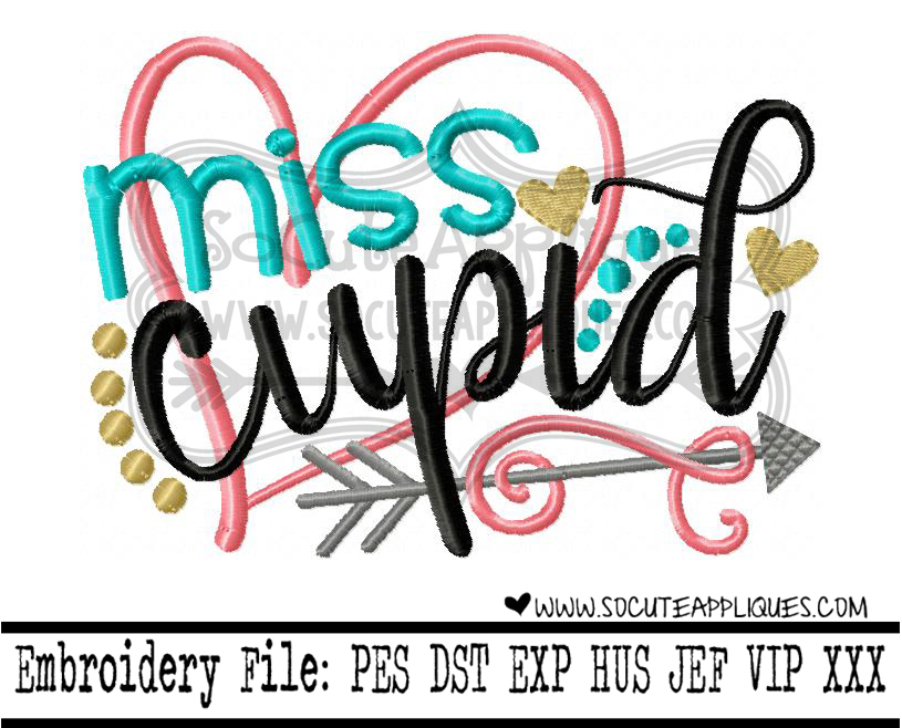 Miss me Cupid design Embroidery saying Embroidery Valentines Day socuteappliques Valentines day embroidery