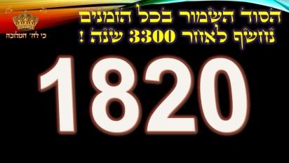 """חפשו את הסרט המקדש בצפונות התורה פולארד ישוחרר תשע""""ה = 1820 יונתן ישוחרר תשע""""ה = 2015 ( שזו שנת תשע""""ה ) עמיר ישוחרר תשע""""ו = 1820 האסיר יגאל ישוחרר תשע""""ו = 1820 פולארד ועמיר ישוחררו ע""""י המשיח = 1820   איך הכל כזה מדויק.. מה הסיכוי הסטטיסטי? ? ?  נזכור ש: לעשות נחת רוח ליוצרו = 1820 מדוע באתי ואין איש קראתי ואין עונה = 1820 זהו סוד ה' סוד = 70 כפול שם ה' = 26 = 1820"""