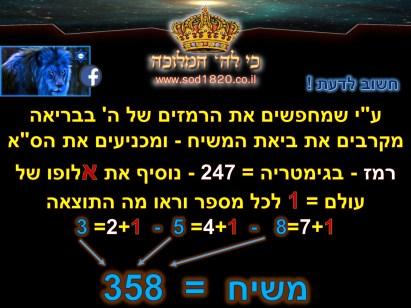 מהי מטרת הגימטריה כל הרמז מורכב מסמלים וסימבולים .. ברגע שמחברים אוסף של דברים שלכאורה אקראים אז מקבלים תמונה מושלמת !! נזכור שרמז = 247 - כשרואים רמז.. מבינים שיש כאן פלא = 111 ברגע שנחבר 247+111 = 358 = משיח..