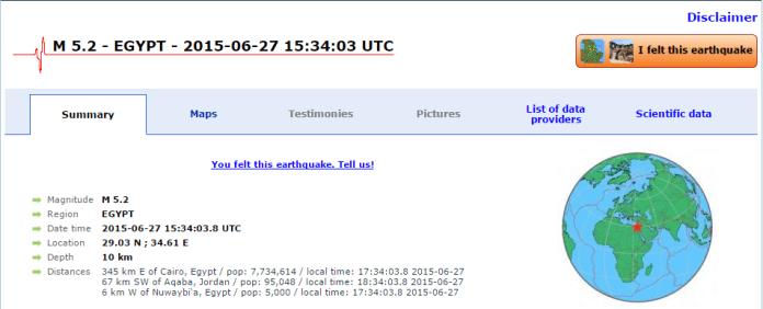 הרעידה היתה בסיני מרחק 67 קמ מבירת אחת המדינות 345 קמ מרחק מקום נוסף = 345 =משה .. בדיוק בפרשה שקראנו שהוא לא נכנס לארץ ממדבר סיני