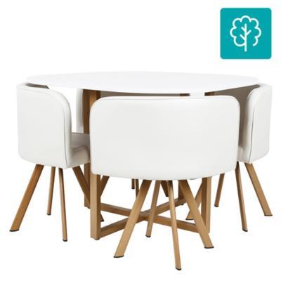Juego de comedor 4 sillas 100x100 Blanco  Homy  3094243