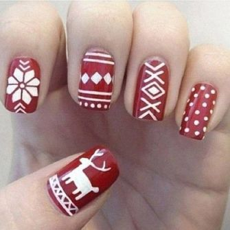 blogmas 2015, day 10, festive christmas nail art, red and white, snowflakes, inspiration, goals