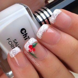 blogmas 2015, day 10, festive christmas nail art, white, shimmer french, mistletoe, inspiration, goals, artsy, tumblr, pinterest