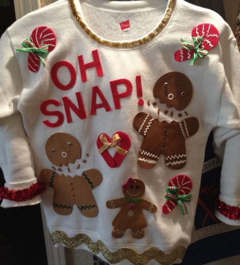 blogmas 2015, day 14, overly festive, ugly christmas jumpers, elf body, female sweater, tumblr, pinterest, gingerbread people, funny