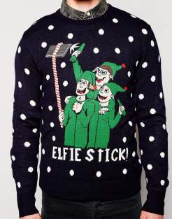 blogmas 2015, day 14, overly festive, ugly christmas jumpers, elf, elfie stick, asos, male sweater, stars, tumblr, pinterest