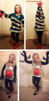 blogmas 2015, day 14, overly festive, ugly christmas jumpers, simpsons, christmas tree, reindeer, sleeves, tumblr, pinterest