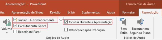 barra de ferramenta audio PowerPoint