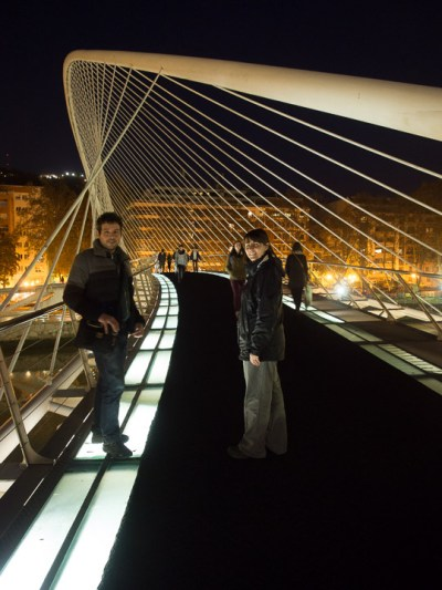"San-Marié and Daniel on the Zubizuri (Basque for ""white bridge"")"