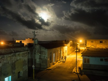 This was the view from a rooftop restaurant in Gibara, where Saul and I dined alone on a moonlit night