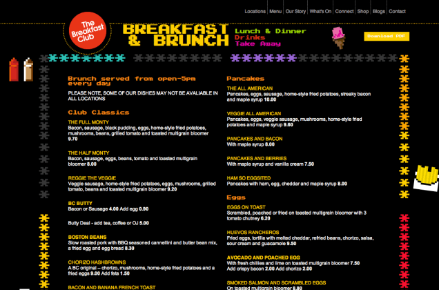 Menuen på The Breakfast Club