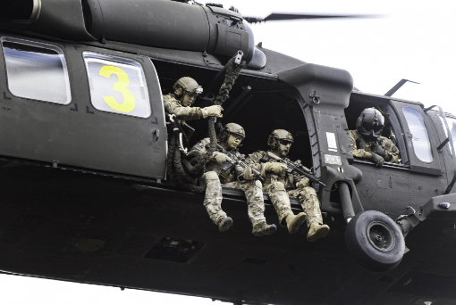 Members of 1st Bn 10th Special Forces prepare to fastrope. Photo by SSG Larraine Whetsone, SOCEUR, 3 Aug 2016.