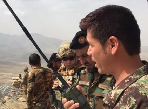 ATAC Video - Afghan Tactical Air Coordinator (ATAC) trainee of the 203rd ANA Corps at FOB Thunder in Gardez, Afghanistan trains with Afghan Air Force (AAF) A-29 Super Tucanos. (Photo from RS HQ video, 28 Jul 2017).