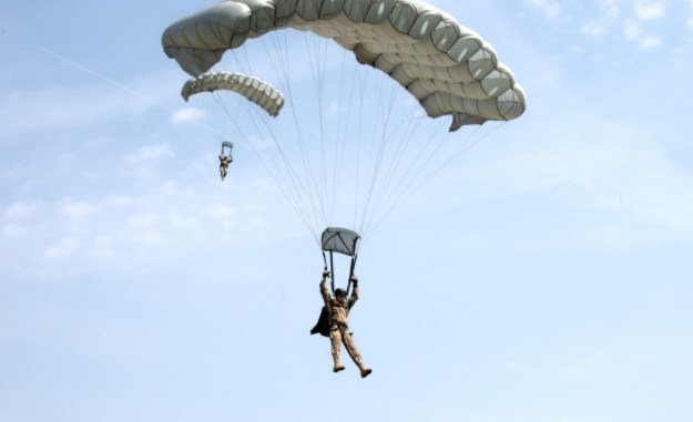 20th SFGA HALO Parachustist prepares to land while participating in Exercise Black Swan 2017 in Hungary. (Photo by SSG Aaron Duncan, SOCEUR, July 21, 2017).