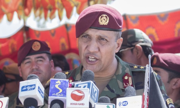 Col Khanullah Shuja, Commander of the National Mission Brigade, delivers remarks during the NMB activation ceremony. (photo by Sun L. Vega, RS HQs, August 3, 2017).