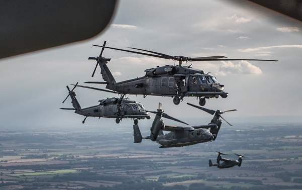 CV-22s and HH-60s flying over southern England in August 2017.
