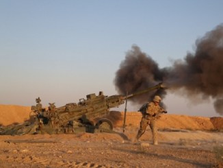 US Artillery in Iraq fire at ISIS locations near Iraqi-Syrian border on June 5, 2018. Photo by PFC Anthony Zendejas, US Army.