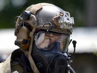 Special Forces soldier participates in Chemical, Biological, Radiological, Nuclear (CBRN) training exercise near Stuttgart, Germany. Photo by Specialist Jason Johnson, U.S. Army, July 18, 2018.
