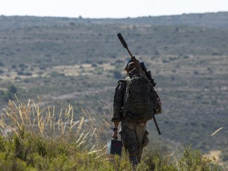 Spanish Sniper at ISTC Desert Sniper Course at Chinchilla Training Area, Spain. Two-week course is designed to teach trained sniper teams the necessary skills t operate in a desert environment. July 2018 SOCEUR photo.
