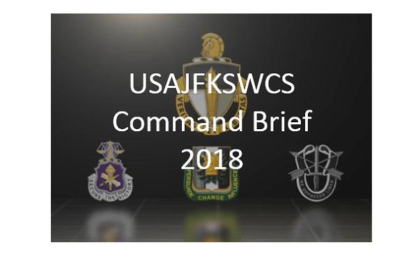 USAJFKSWCS Command Brief 2018