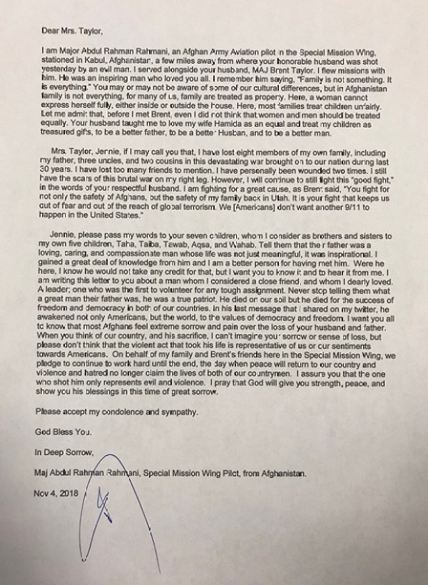 Maj Abdul Rahman Rahmani sent a letter to the family of Major Brent Taylor after he was killed in an insider attack in Afghanistan.