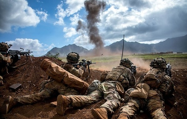 Soldiers firing weapons. Photo by U.S. Army, 2018.